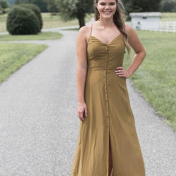 Button Front Maxi, Olive