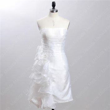 Sexy Organza White Strapless Short Wedding Dresses 2016 vestido de noiva curto Flower Layers Backless Bridal Gowns Fast Shipping