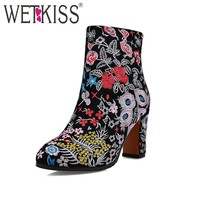 WETKISS Plus Size 34-43 Cow Suede Leather Embroider Women Winter Boots Ethnic Style Floral Thick High Heels Ankle Female Boot
