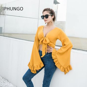 Deep V-neck Chiffon Blouse Shirt Women Long Petal Sleeve Tie Blouse Top