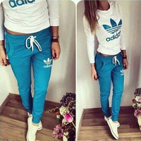 """Adidas"" Fashion Casual Clover Letter Print Long Sleeve Set Two-Piece Sportswear"