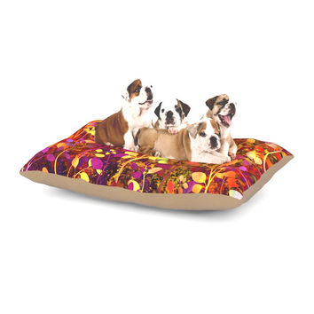 "Ebi Emporium ""Amongst the Flowers - Warm Sunset"" Pink Orange Dog Bed"
