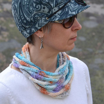 Crocheted multistrand scarf Fiber necklace Soft neckwarmer. Teal, lilac, grey and brown Colorful scarf Bulky soft yarn