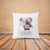English Bulldog pillow-nerdy bulldog pillow cover-funny dog pillow case-cushion cover-dog pillow-dog lovers gift-by NATURA PICTA-NPCP079