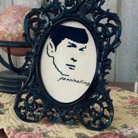 Framed Fascinating Spock Handmade Cross Stitch by RagingStitches