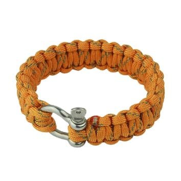 O Shape Buckles Paracord Survival Bracelet With Survival Whistle, Yellow