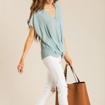 Macy Teal Button Down Twist Blouse