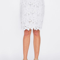 White Petal Pencil Skirt