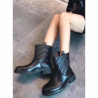 GUCCI Women Leather Black Zipper heels Boots Fashion Casual Shoes Best Quality