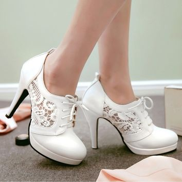 lace up high heels sexy women pumps shoes
