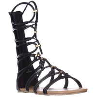 XOXO Gizella Tall Gladiator Sandals - Black Snake