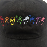 FEMINIST SIGN LANGUAGE Hat ~ rainbow/pride colors