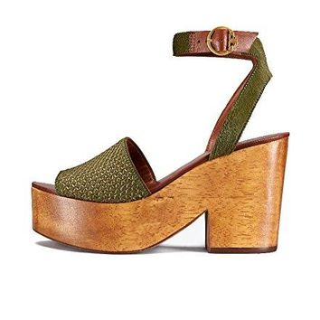 Tory Burch Camilla Wooden Heel and Calf Hair Platform Sandals, Olivo