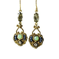 Seafoam Green and Blue Beaded Earrings with Crystal Accents