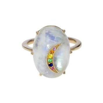 Rainbow Moonstone Sapphire Crescent Moon Ring