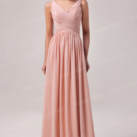 Solid  V-Neck Wrap Ruched Lace Up Flounce Maxi Dress
