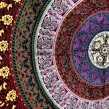 Floral Flower Hippie Boho Wall Tapestries,  Mandala Tapestry Wall Hanging, Indian Bedspread Bohemian Room Décor, Dorm Bedding Tapestry Art
