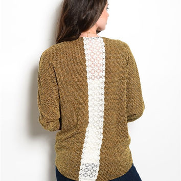 Mustard Heathered Cardigan w/ White Lace