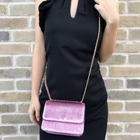Tory Burch Metallic Crinkle Leather Small Crossbody Shoulder Bag Sparkle Pink