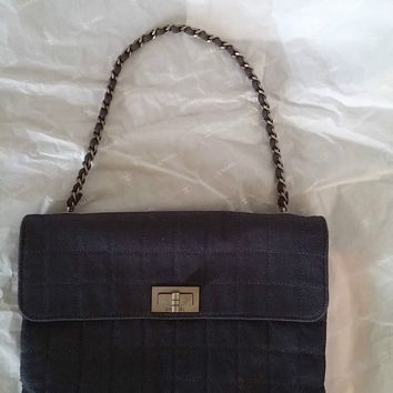 Authentic Chanel Denim Navy Blue Quilted Chain Shoulder Bag