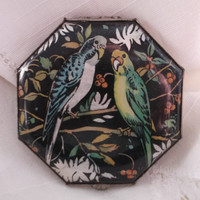 Gwenda foil compact with budgerigars/budgies. Art deco compact. Collector's compact. Ideal gift. REDUCED PRICE.