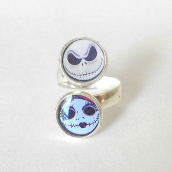 Jack Sally Ring, Nightmare Before Christmas, Adjustable Silver Plated Ring, Fits ANY Finger OR Thumb!