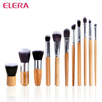 ELERA 11pcs/set Professional Makeup Brushes Set Wood Superior Soft Cosmetic Eyeshadow Foundation Concealer Make up Brush Set Bag