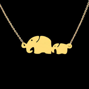 Tattoo Choker Maxi Necklaces Long Body Chains Mom Baby Elefant Colar Elephant Necklace Stainless Steel Supernatural Necklace