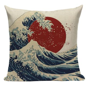 Red Sun Ocean Waves Pillow JP5
