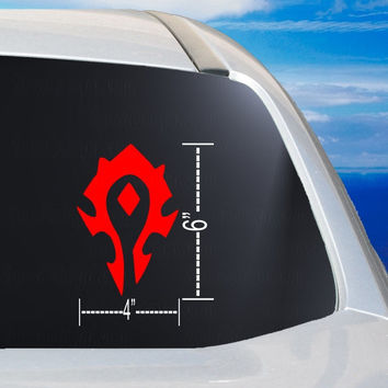 Horde Car Window Vinyl Decal Laptop Tablet Mirror Sticker, WoW Horde great stocking stuffer gift ideas, For the Horde pride decal,