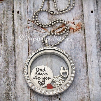 God Gave Me You Floating Locket - Memory Locket - Mother Child - Grandmother Locket