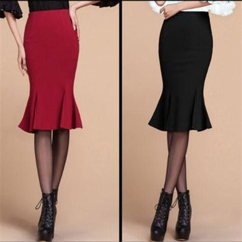 Sexy Slim Stretch Body con High Waist Mermaid Flared Fishtail Pencil Skirt