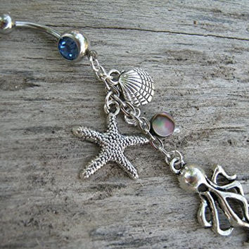 Abalone Octopus Belly Ring, With SKY BLUE Barbell, Starfish Nautical Navel Ring, Beach Belly Button Jewelry, Ocean Shell Body Jewelry, Abalone Navel Ring