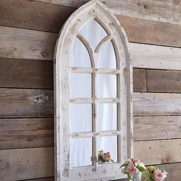 Distressed Arch Style Mirror with Panes - 39-in