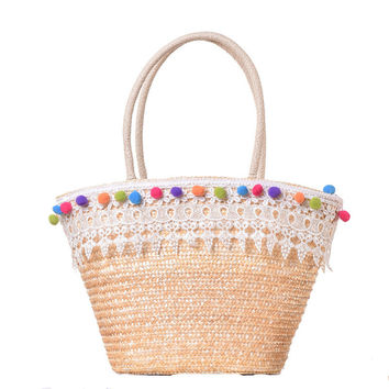 Lace Boho Beach Bag Multi color Pom Ball Woven Handbags Basket Summer Travel Shoulder Bags Straw Women Market Shopper Totes A37