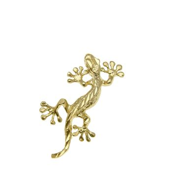 14K SOLID YELLOW GOLD HAWAIIAN GECKO LIZARD DIAMOND CUT CHARM PENDANT