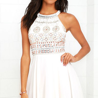 Art Nouveau Cream Beaded Skater Dress