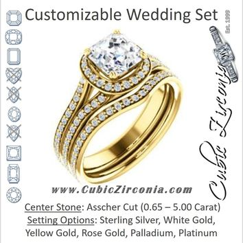 CZ Wedding Set, featuring The Kylee engagement ring (Customizable Cathedral-set Asscher Cut Style with Split Pavé Band)