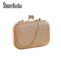 ShunvBasha Hot Sellers Woman Evening bag  Gold Glittered Clutch bags Wallet Wedding Purse Party Banquet  girls shoulder bag Mess