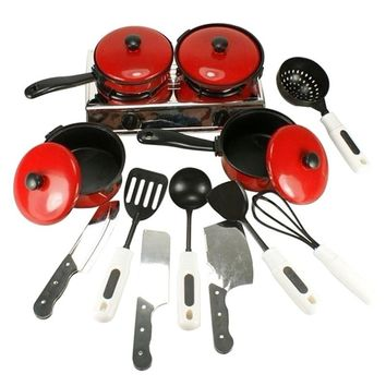 13PCS Kid Play House Toy Kitchen Utensils Cooking Pots Pans Food Dishes Cookware(Food Not Included )