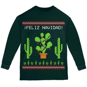 PEAPGQ9 Cactus Desert Feliz Navidad Ugly Christmas Sweater Youth Long Sleeve T Shirt