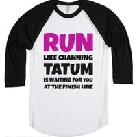 Run For Tatum (Baseball Tee)-Unisex White/Black T-Shirt