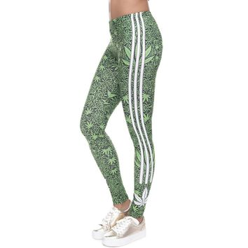 Weed Print Striped High Waist Workout Leggings