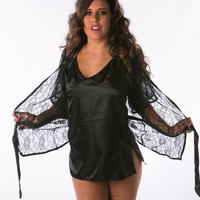 Black lace lingerie sets in three pieces with g string