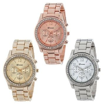 Rose Gold Watch Faux Chronograph Quartz Plated Classic Crystals Round Ladies Women Watch Luxury Gold Silver Watches Time Clock