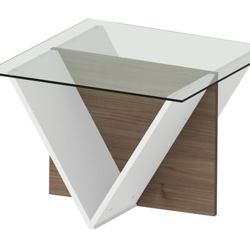 Walt Side Table Walnut / Pure White / Glass Top
