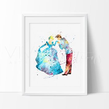 Cinderella & Prince Charming 2 Watercolor Art Print