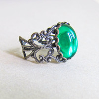 Emerald Green Ring Dark Green Ring Antique Silver Ring The Great Gatsby Art Deco Art Nouveau Victorian Vintage Inspired Gothic Glass Ring
