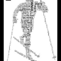 Skier Personalised Word Art Print. Three Variations