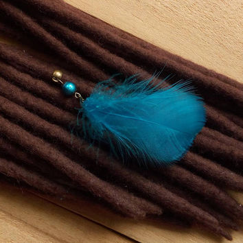 Turquoise feather dread bead dredlock jewelry hair beads boho hair jewelry hippie hair bead